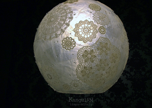 white doily lamp design by KanguLUM studio